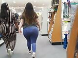 Fat bubble booty PAWG in see-through blue leggings Pt 2