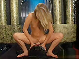 Hot skinny blonde rides a vibrating dildo