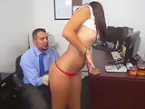 Office latina teen gives blowjob for work