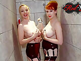 Matures Red and Lucy have fun in the shower together
