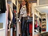 hot girl in tight leather leggings showing her outfit!!