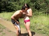 Hot teen with outdoor small dildo