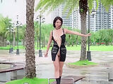Kylie NG flashing her shaved pussy at the Central Park