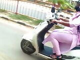 INDIAN THICK THIGHS IN PINK LEGGINGS ON A SCOOTY!