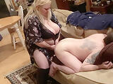Sucking her strapon cock then she pegs my ass hard