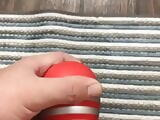 Oiled thick cock in a tenga