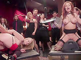 Busty slaves anal fucking in party